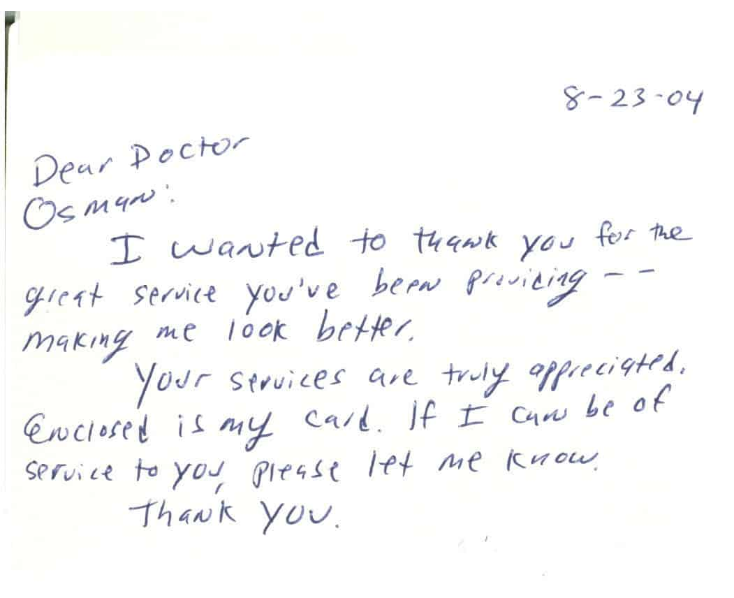 Notes From Our Patients – Dr. Lawrence Osman